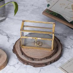 NCYP Handmade Gold Ring Box with Latch Vintage for Wedding image 4 Terrarium Containers, Glass Terrarium, Terrarium Ideas, Terrariums, Jewellry Box, Small Potted Plants, Card Box Wedding, Pure Copper, Wedding Images