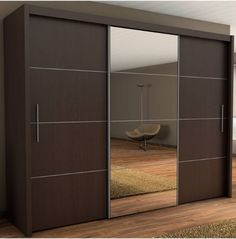This is Sliding Three Door Wardrobe With Center Glass Item of Three Door Sliding Wardrobe Designs. Elegant Sliding wardrobes design ideas around the world for your home. Three Door Wardrobe, Wardrobe Design Bedroom, Bedroom Furniture Design, Bedroom Wardrobe, Wardrobe With Mirror, Glass Wardrobe, Modern Wardrobe, Modern Closet Doors, Wardrobe Laminate Design