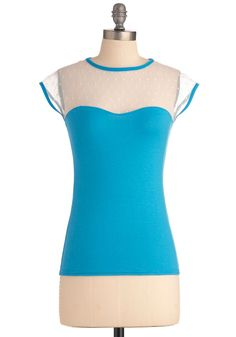 The Answer is Sheer Top in Aqua - Mid-length, Blue, White, Color Block, Lace, Casual, Vintage Inspired, Short Sleeves