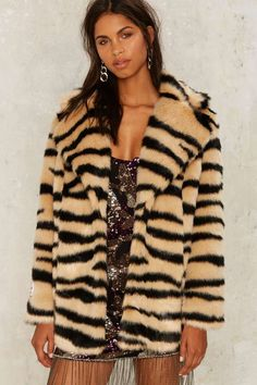 Jakke Heather Faux Fur Tiger Coat - Clothes | Grunge