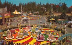Vintage Fantasyland postcard showing the Mad Tea Party, the Mickey Mouse Club Theater, Dumbo Flying Elephants, Skyway to Tomorrowland and the Chicken of the Sea Lagoon. Circa 1960.   4 Color cowboy via Flicker