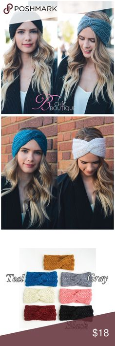 Twisted Knitted Headband Twisted Style knitted headband. Made of 100% acrylic. The perfect add on for fall/ winter! Available in grey, teal and black. You may choose the color when checking out Bchic Accessories Hair Accessories