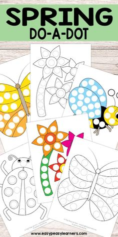 Free Printable Spring Do a Dot Pages - Learning Preschool Spring Theme, Spring Art, Spring Crafts, Spring Activities, Toddler Activities, Preschool Activities, Preschool Printables, Preschool Crafts, Dot To Dot Printables