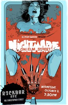 An alternative movie poster for the film A Nightmare on Elm Street , created by Laz Marquez, featured on AMP Horror Movie Posters, Cinema Posters, Movie Poster Art, Horror Films, Horror Art, Culture Pop, Geek Culture, Movies And Series, Kino Film