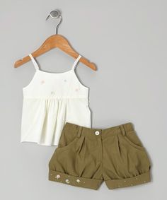 Take a look at the Off-White Floral Top & Green Shorts - Infant, Toddler & Girls on #zulily today!