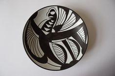 RESERVED Vintage Danish - Michael Andersen - bowl / wallhanging - tribal / negro - bird motif - probably Marianne Starck - mid century