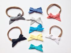 Itty Bitty Bias tape mini bows single loop tied headbands nylon ONE by ShopSassyBabes on Etsy https://www.etsy.com/listing/260673312/itty-bitty-bias-tape-mini-bows-single