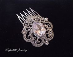 Wedding hair comb bridal hair comb brooch by nefertitijewelry2009