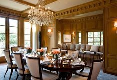 elegant dining room with wooden table