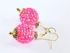 Hot Pink Disco Earrings, Breast Cancer, Sparkle Beads on Etsy, $20.00