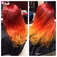 Gorgeous three toned colormelt from red to orange to yellow hair color created by hair artist Bianca Mendez @hairbymissb in San Antonio, Texas. Description from haircolorsideas.com. I searched for this on bing.com/images