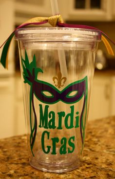 Personalized Mardi Gras Tumbler with FleurdeLis by MaMaDsFavors, $12.00