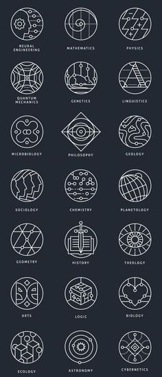 Collection of conceptual marks, representing different scientific areas.Available for purchase in outline and colored variations.                                                                                                                                                                                 More