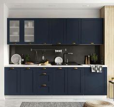 Cuisine noire : meuble, plan de travail et crédence, c'est tendance ! Style Retro, Adele, Kitchen Cabinets, Room, Furniture, Home Decor, Products, Rustic Style, Kitchen Modern