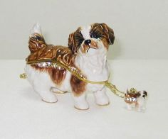 Brown White Shih Tzu Dog Jeweled Hinged Trinket Box includes a miniature Shih Tzu pendant on gold toned necklace and satin lined box for gifting. #Dog  #TreasureJourneys  #TrinketBoxes