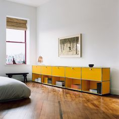 USM Haller golden-yellow credenza with 5 storiage and shelving cabinets, Contemporary bedroom furniture