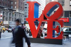 The famous LOVE sculpture by Robert Indiana, situated on the corner of 6th Avenue and 55th Street in Manhattan