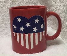 Waechtersbach Patriotic Coffee mug RED Star Stripe USA Flag Heart CUP SPAIN EUC