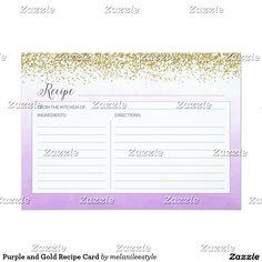 Purple and Gold Recipe Card
