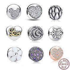 9 style argento 925 whimsy divertente mickey pavimenta clip misura branelli pandora charm bracelet & necklace dei monili accessori 192