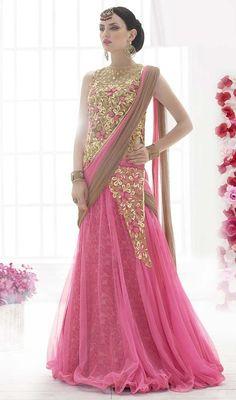 Pink and Brown Color Net Embroidered Lehenga Sari e2e42a4f7