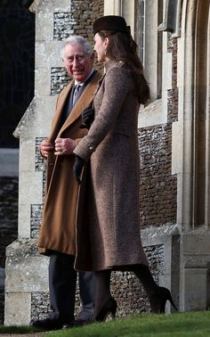 Prince Charles and Catherine, Duchess of Cambridge attending Christmas services. December 25, 2014.