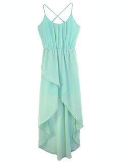 "Solid Green Spaghetti Strap Sleeveless Irregular Chiffon Dress.. but ""one size"" is not a real size, Sheinside"