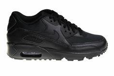 6ba21c97268 Nike Air Max 90 Mesh (GS) Helemaal Zwart 833418 001 Kinder Sneakers