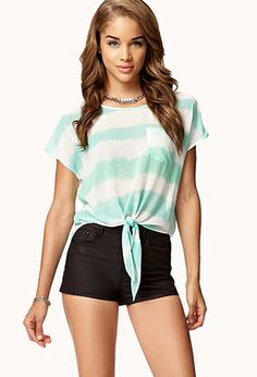 Watercolor Striped Top | FOREVER21 - 2028119607