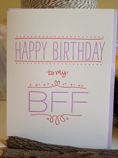 BFF Birthday Card - Best Friend Letterpress on Etsy, $5.00