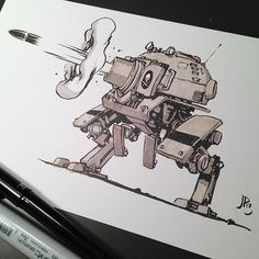 Heavy artillery Mech from the first Martian Civil War. Design Reference, Art Reference, Character Concept, Character Art, Cyberpunk, Cuadros Star Wars, Arte Robot, Robot Concept Art, Robot Design