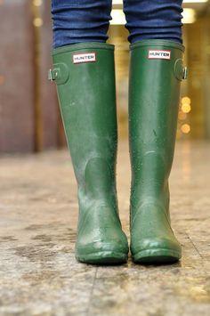 green hunter wellies