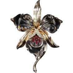 TRIFARI 'Alfred Philippe' Sterling Lucite Jelly Belly Ruby Baguette Large Orchid Pin