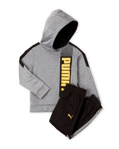 Puma (Toddler Boys) Two-Piece Logo Tech Fleece Hoodie & Pants Set Baby Outfits, Toddler Boy Outfits, Cute Girl Outfits, Toddler Boys, Stylish Toddler Girl, Toddler Fashion, Kids Fashion, Tech Fleece Hoodie, Puma Outfit
