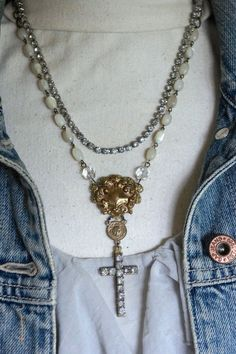 Pearls From Heaven-Vintage assemblage necklace cross mother of pearl rosary chain assemblage jewelry F33-by French Feather Designs.
