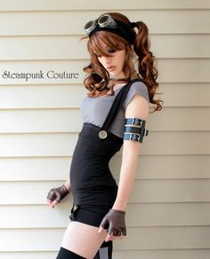 "Black underbust playsuit from the Summer 2011 collection of Steampunk Couture. Too bad their best stuff is ""temporarily"" out of stock"