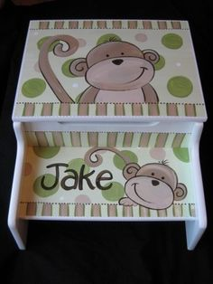 Items similar to storage step stool personalizd hand painted mod monkeys on Etsy Hand Painted Furniture, Paint Furniture, Kids Furniture, Wooden Furniture, Kids Stool, Step Stools, Painted Stools, Childrens Rocking Chairs, Kids Bath