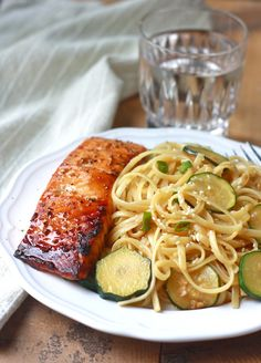 Zucchini Pasta with Teriyaki Salmon by SeasonWithSpice.com  Subbed spaghetti, summer squash and leeks. Subtle flavours and delicious!