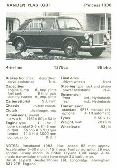 Vanden Plas Princess 1300 Classic Motors, Classic Cars, Automobile, Final Drive, Sump, Engineering, Advertising, Boards, British