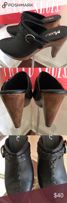MIXX SHUZ CLOGS WITH WOOD HEELS MIXX SHUZ FUNKY WOOD HEEL CLOGS (NEVER WORN) BLACK STITCHING ON FTONT WITH SIDE BUCKLE! HAS THAT 70s FUNKY LOOK - 4 in heel MIXX SHUZ Shoes Mules & Clogs