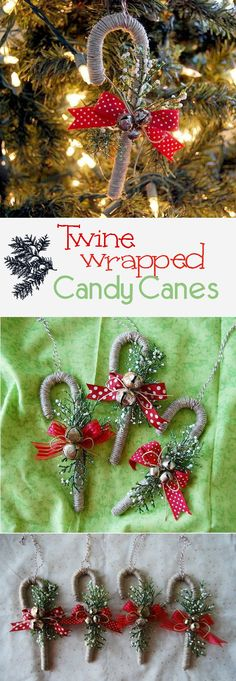 Twine wrapped canes are simply beautiful little bits of Christmas inspired by country home and folksy decor you can add or leave off sparkle to make these fast and fun canes. Natural Christmas Ornaments, Homemade Christmas Decorations, Christmas Candy, Handmade Christmas, Christmas Tree Ornaments, Christmas Holidays, Rustic Homemade Christmas Ornaments, Cheap Ornaments, Burlap Ornaments