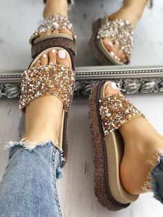 Shop Shiny Sequins Embellished Open Toe Sandals right now, get great deals at Jo… - Schuhe Cute Sandals, Open Toe Sandals, Shoes Sandals, Flat Sandals, Heeled Sandals, Cute Shoes Flats, Shiny Shoes, Sandal Heels, Strappy Sandals