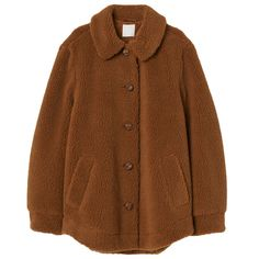 Jacket in soft faux shearling with a collar, large buttons at front, and long sleeves with button at cuffs. Faux Shearling Jacket, Mein Style, Retro Outfits, Clothing Items, Aesthetic Clothes, Look, Fashion Outfits, How To Wear, Bramble