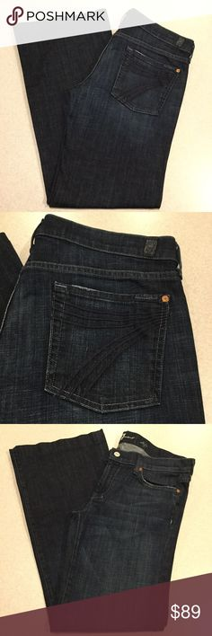 7 For All Mankind Jeans 32X32 Dojo New York Dark! ❗️PRICE ABSOLUTELY FIRM❗️ 7 for all mankind jeans Size 32 (very hard to find!) 32 inch professionally hemmed inseam The dojo in New York dark Famous blue stitched 7 back pockets Vibrant blue stretch denim with medium fading Perfect preowned condition, no flaws Retailed for $212.00 My dojos sell fast so don't wait on these!  All of my items come from a smoke free, pet free home and are authenticity guaranteed! Please ask any questions. 333-21…