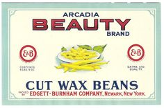 Vintage 1950s VEGETABLE CAN LABEL\  Cut Wax Beans