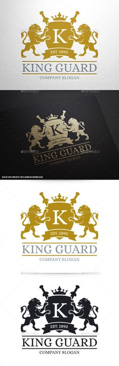 King Guard Logo Template — Vector EPS #protection #lions • Available here → https://graphicriver.net/item/king-guard-logo-template/10427773?ref=pxcr