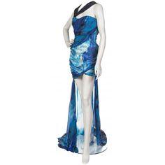 $7,300 EMANUEL UNGARO Caribbean Blue Silk Gown