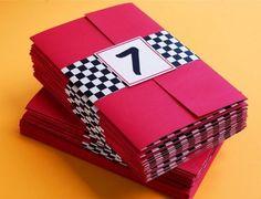 "Cute ""outside"" invitation idea with black and white checkered wrap-around."