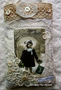 Lace and vintage pictures make for a pretty card...I would like to use this idea on a scrapbook layout!