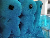 Blue Peeps bunnies, upside down and converted into cyclops for a Percy Jackson party.  LOVE! Hey mom!?!? Guess what I have an idea for